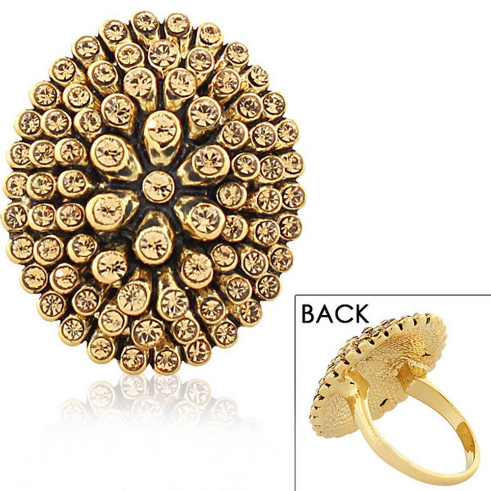 Fashion Alloy Yellow Gold-Tone Black Brown CZ Statement Cocktail Ring