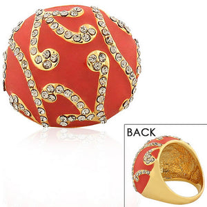 Fashion Alloy Yellow Gold-Tone Red White Clear CZ Statement Cocktail Ring