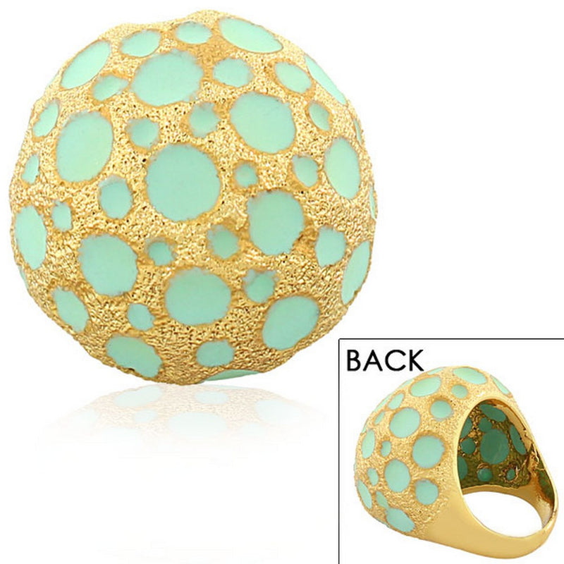 Fashion Alloy Yellow Gold-Tone Turquoise-Tone Statement Cocktail Ring