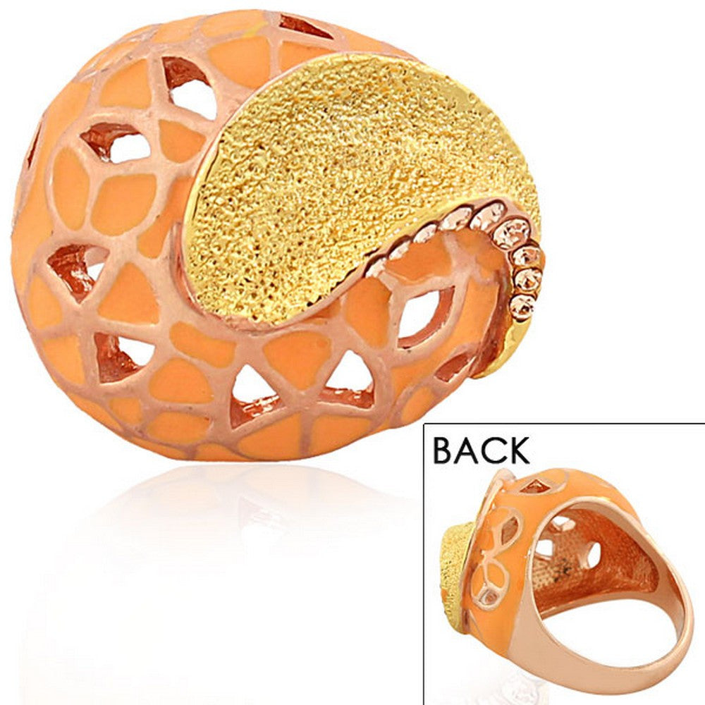 Fashion Alloy Yellow Rose Gold-Tone Orange Brown CZ Statement Cocktail Ring
