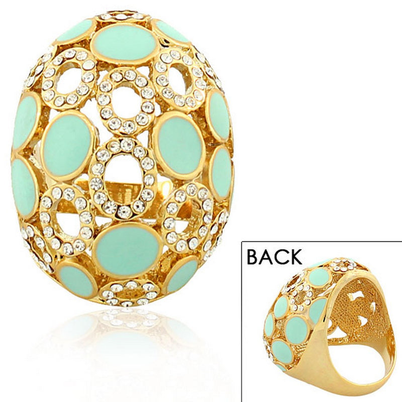 Fashion Alloy Yellow Gold-Tone Turquoise-Tone White Clear CZ Statement Cocktail Ring