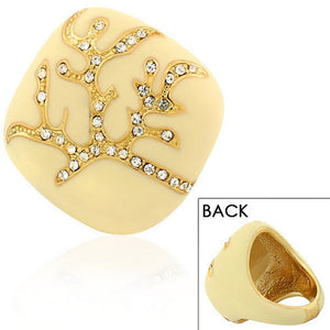 Fashion Alloy Yellow Gold-Tone White Ivory-Tone Clear CZ Statement Cocktail Ring