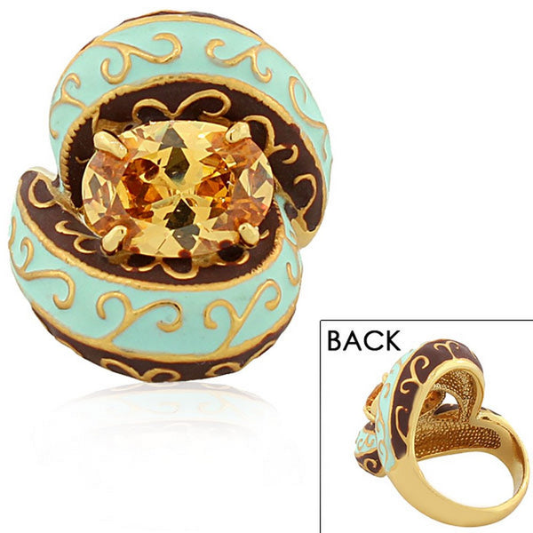 Fashion Alloy Yellow Gold-Tone Brown Turquoise-Tone Oval CZ Statement Cocktail Ring