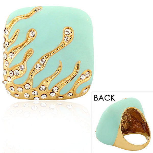 Fashion Alloy Yellow Gold-Tone Turquoise-Tone Cushion White Clear CZ Statement Cocktail Ring