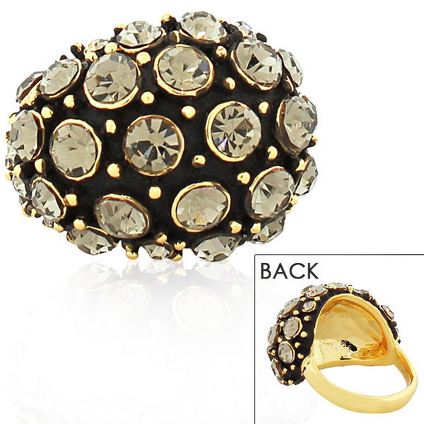 Fashion Alloy Yellow Gold-Tone Black CZ Statement Cocktail Ring