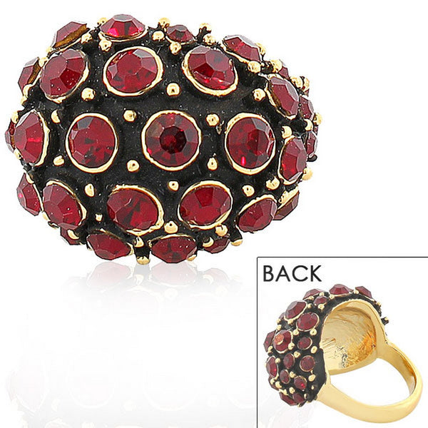 Fashion Alloy Yellow Gold-Tone Black Red CZ Statement Cocktail Ring