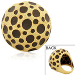 Fashion Alloy Yellow Gold-Tone Brown Leopard Pattern Statement Cocktail Ring