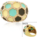 Fashion Alloy Yellow Gold-Tone Brown White Turquoise-Tone Statement Cocktail Ring