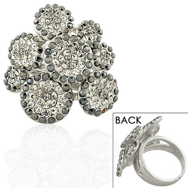 Fashion Alloy Silver-Tone White Clear Black CZ Flower Floral Statement Cocktail Ring