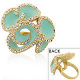 Fashion Alloy Yellow Gold-Tone Turquoise-Tone White Clear CZ Flower Floral Cocktail Ring