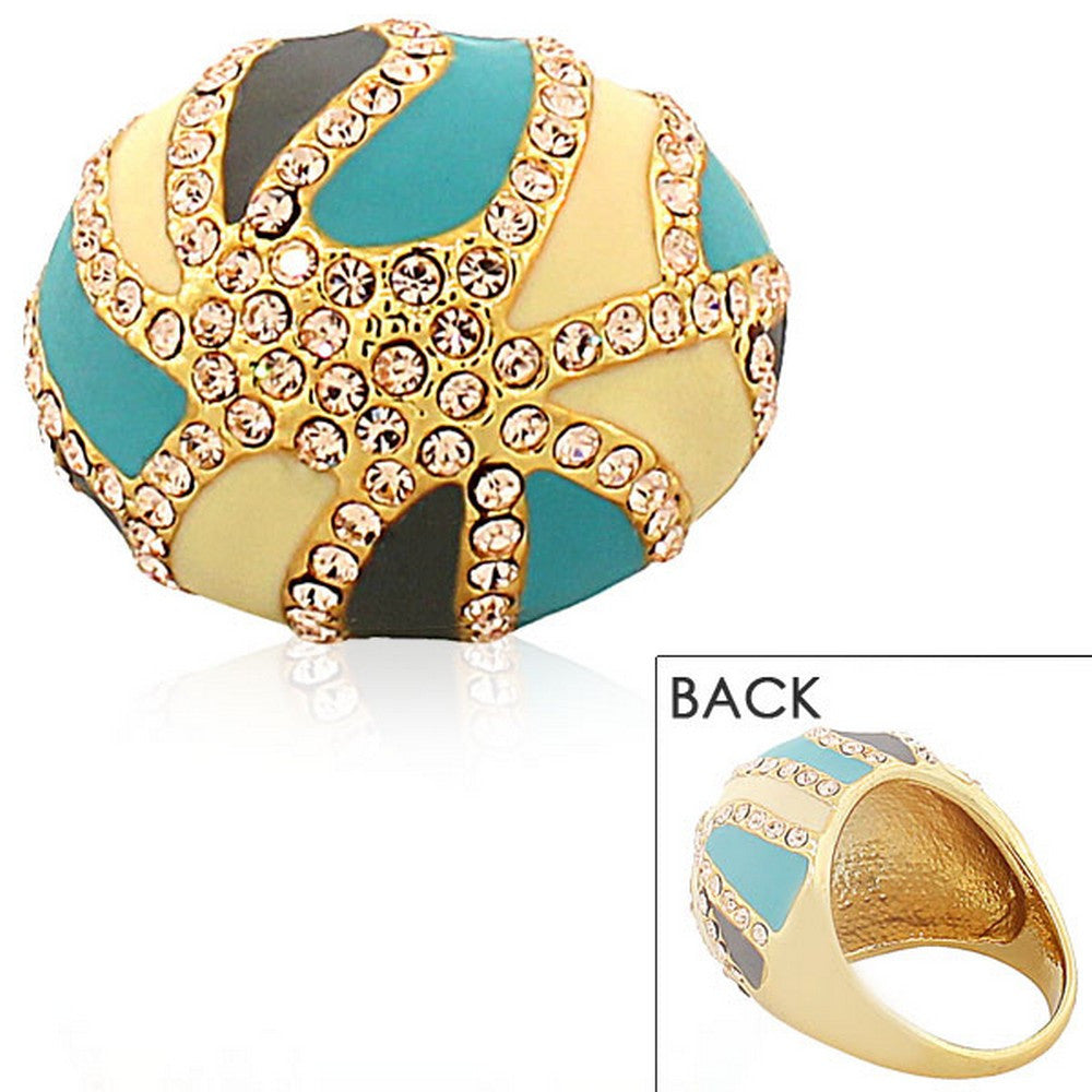 Fashion Alloy Yellow Gold-Tone Turquoise-Tone Brown CZ Statement Cocktail Ring
