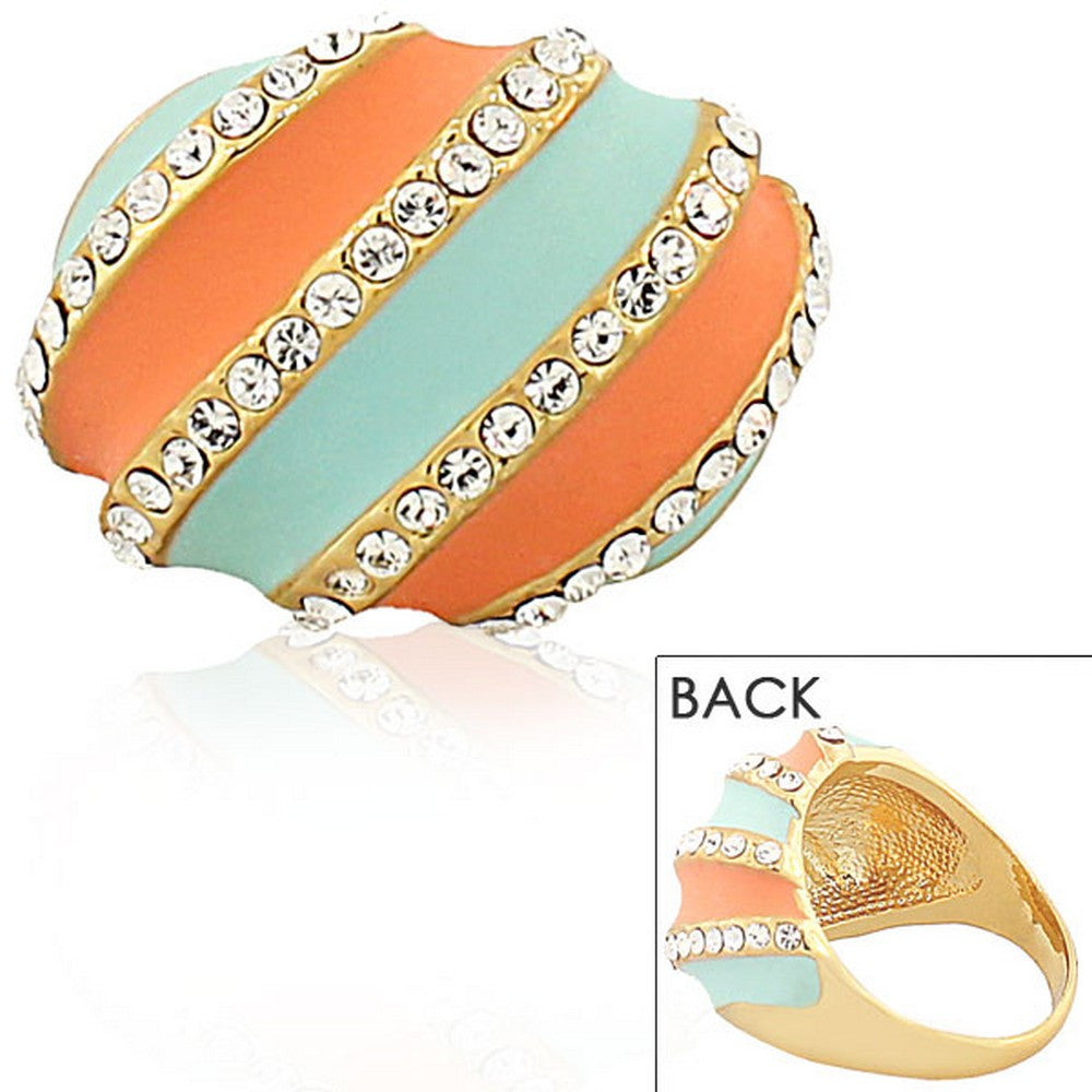 Fashion Alloy Yellow Gold-Tone Turquoise-Tone Orange Clear CZ Statement Cocktail Ring
