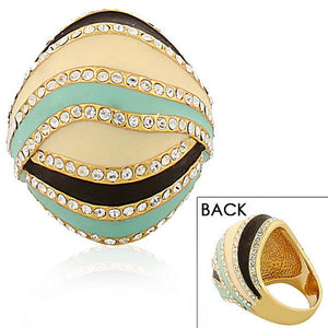 Fashion Alloy Yellow Gold-Tone Turquoise-Tone Brown Clear CZ Statement Cocktail Ring