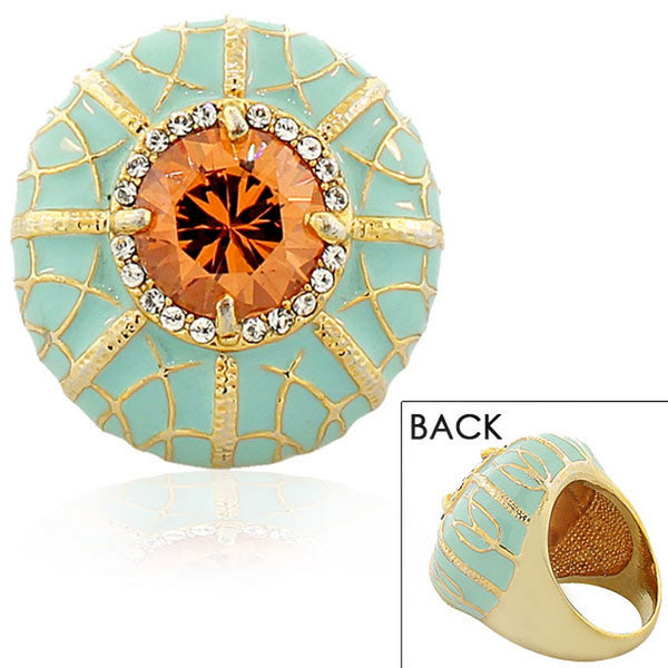 Fashion Alloy Yellow Gold-Tone Turquoise-Tone White Clear Brown CZ Cocktail Ring
