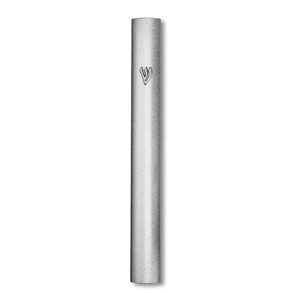 Aluminum Silver-Tone Classic Mezuzah Case with Attached Shin in Hebrew, 15cm