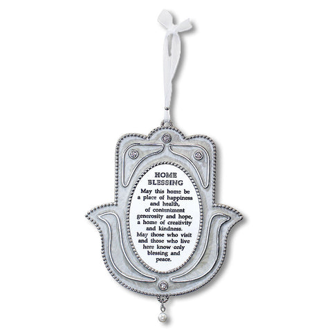 Blessing for Home English Good Luck Hamsa Hand White CZ Enamel - Made in Israel