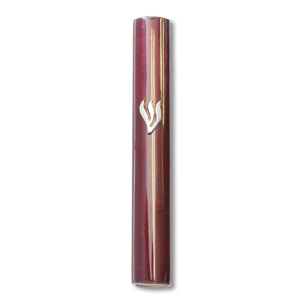 Mezuzah Case - Dark Brown Wood Silver-Tone Shin 5""