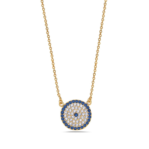 Gold Evil Eye Necklace Sterling Silver Cubic Zirconia