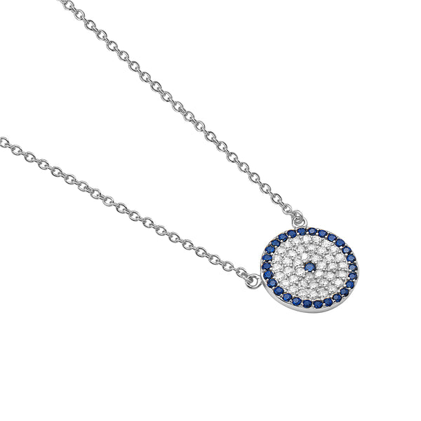 Evil Eye Necklace Sterling Silver Cubic Zirconia