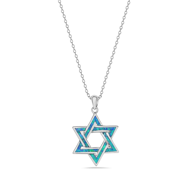 Inlay Opal Star of David Necklace Pendant Sterling Silver