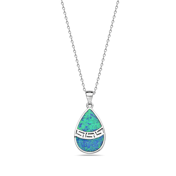Inlay Opal Teardrop Necklace Pendant Sterling Silver