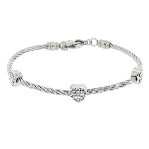 EDFORCE Stainless Steel Silver-Tone Twisted Cable Rope CZ Love Heart Adjustable Bangle Bracelet