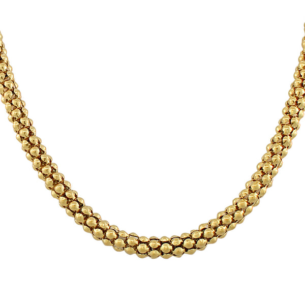 EDFORCE Stainless Steel Gold-Tone Link Chain Caviar Womens Necklace