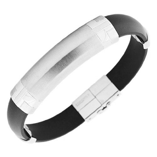 Stainless Steel and Black Rubber Silicone Silver-Tone Men's Bracelet