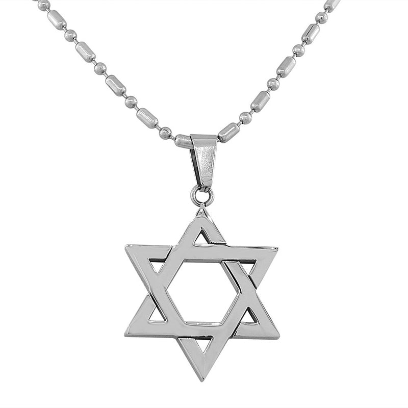 EDFORCE Stainless Steel Silver-Tone Classic Jewish Star of David Pendant Necklace