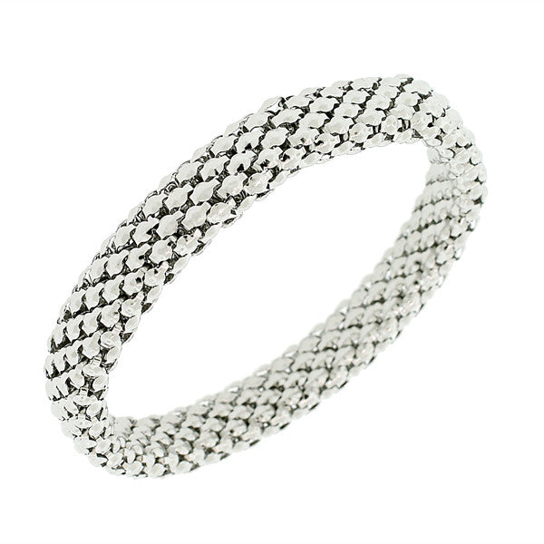 EDFORCE Stainless Steel White Gold Silver-Tone Mesh Narrow Stretch Bangle Bracelet