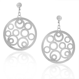 EDFORCE Stainless Steel Silver-Tone Large Round Filigree Dangle Drop Earrings