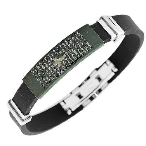 Stainless Steel Black Rubber Silicone Cross Lord Our God Prayer in Spanish Men's Bracelet