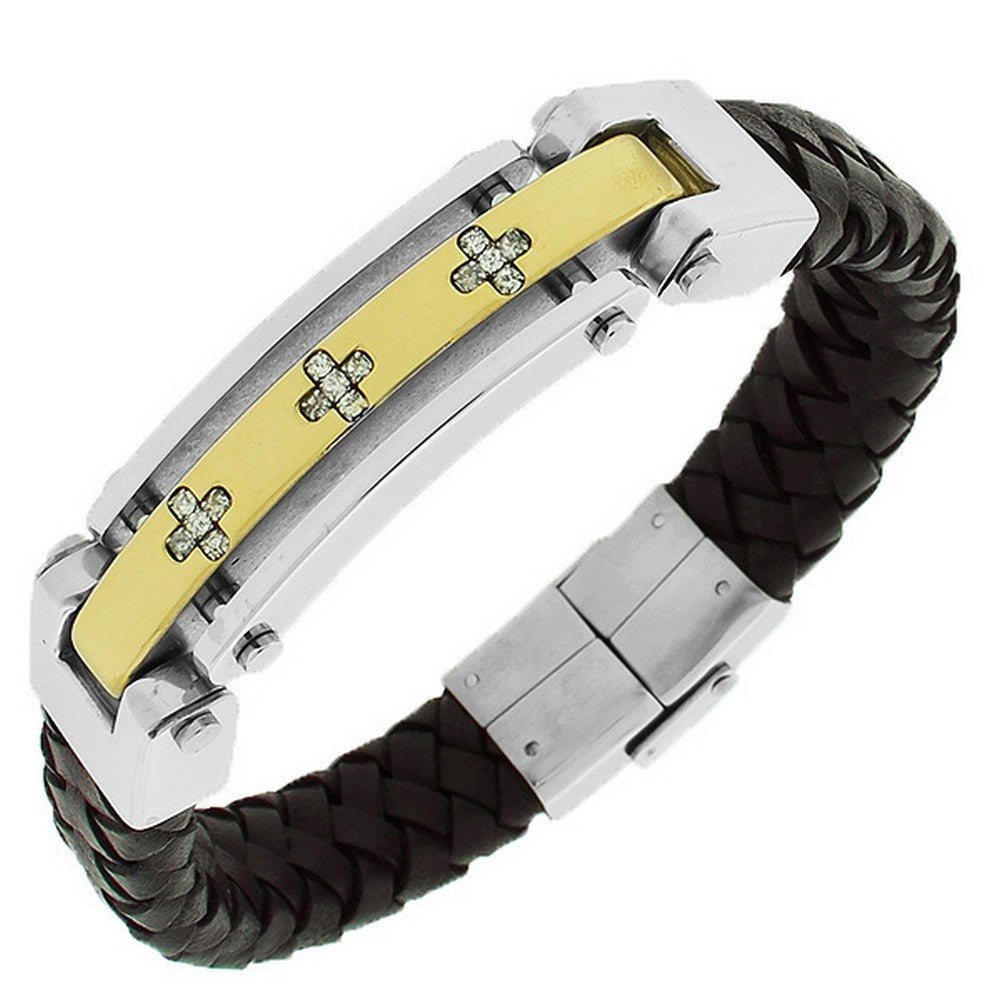 Stainless Steel Brown Leather Gold-Tone White CZ Men's Bracelet