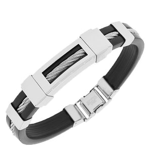 Stainless Steel Black Rubber Silicone Silver-Tone Twisted Cable Men's Bracelet