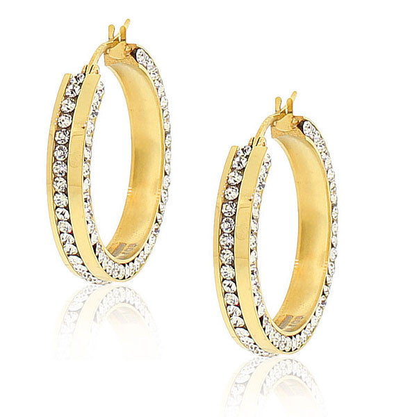 "EDFORCE Stainless Steel Yellow Gold-Tone White CZ Classic Hoop Earrings 1.0"" Diameter"