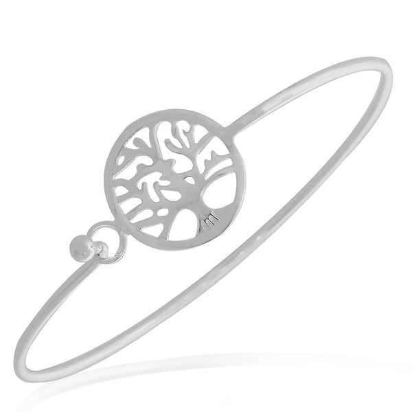 925 Sterling Silver Tree of Life Classic Charm Bangle Bracelet