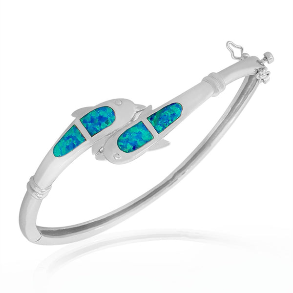 925 Sterling Silver Blue Turquoise-Tone Simulated Opal Dolphin Marine Bangle Bracelet