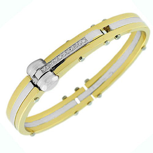 Stainless Steel Yellow Gold-Tone and Silver-Tone White CZ Men's Handcuff Bracelet