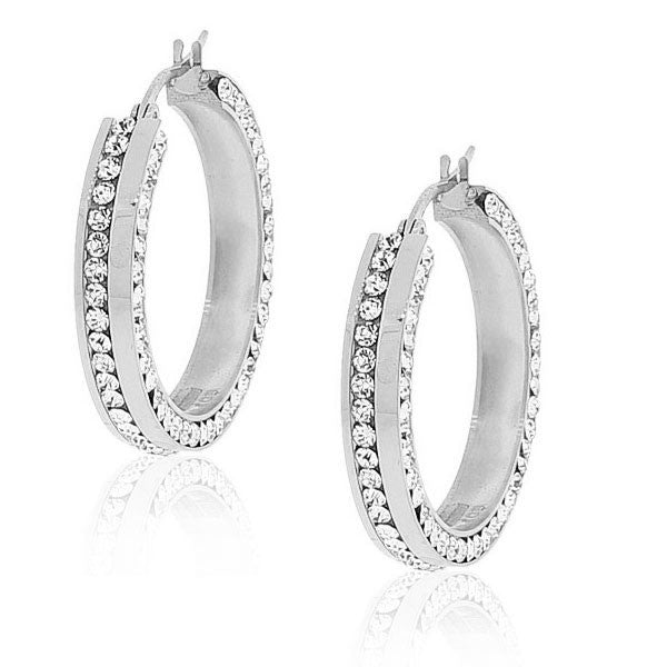 "EDFORCE Stainless Steel Silver-Tone White CZ Classic Hoop Earrings 1.0"" Diameter"