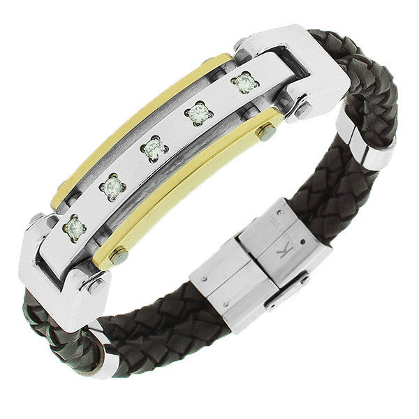 Stainless Steel Brown Leather Two-Tone White CZ Men's Bracelet