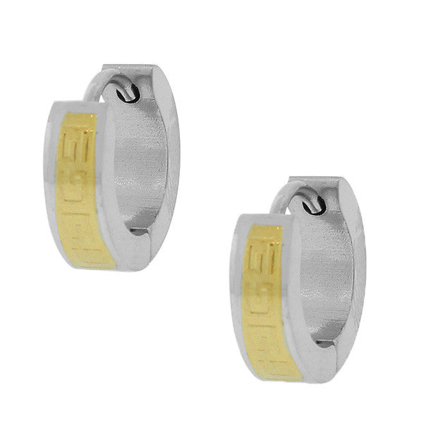 Stainless Steel Two-Tone Greek Key Hoop Huggie Earrings