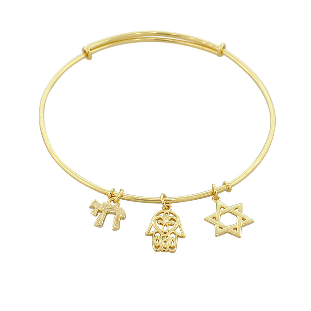 925 Sterling Silver Yellow Gold-Tone Chai Hamsa Star of David Bangle Bracelet with Clasp