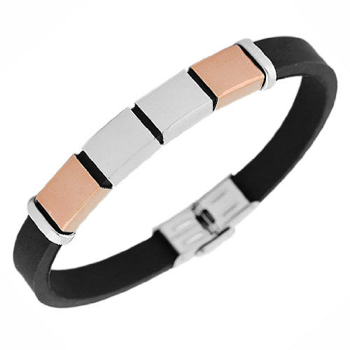 Stainless Steel Black Rubber Silicone Two-Tone Men's Bracelet