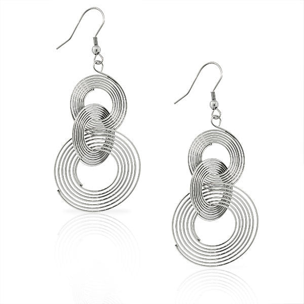 EDFORCE Stainless Steel Silver-Tone Large Concentric Circles Dangle Drop Earrings