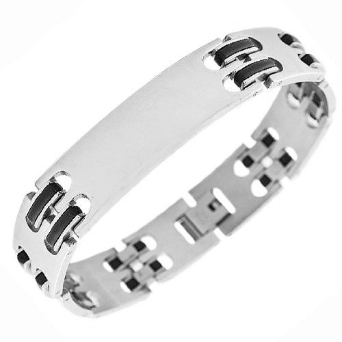 Stainless Steel Black Rubber Silicone Name Tag Men's Bracelet