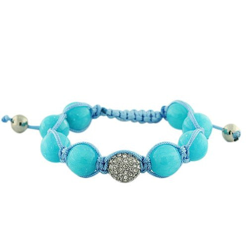 Blue White CZ Ball Beaded Adjustable Macrame Bracelet