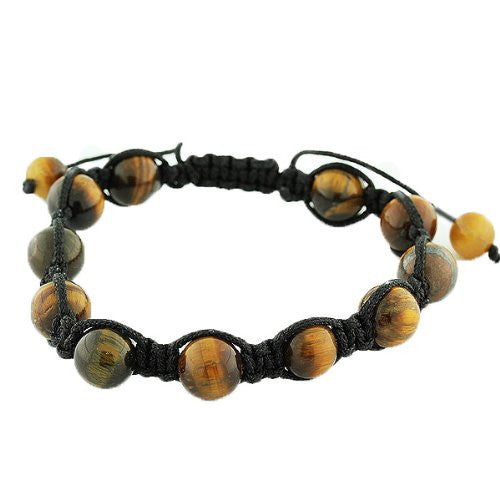 Brown Tiger Eye Ball Beaded Adjustable Macrame Bracelet
