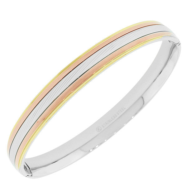 Stainless Steel Multi-Tone Faceted Cuff Bangle Bracelet
