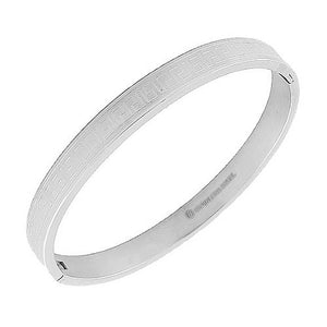 Stainless Steel Silver-Tone Greek Key Bangle Bracelet
