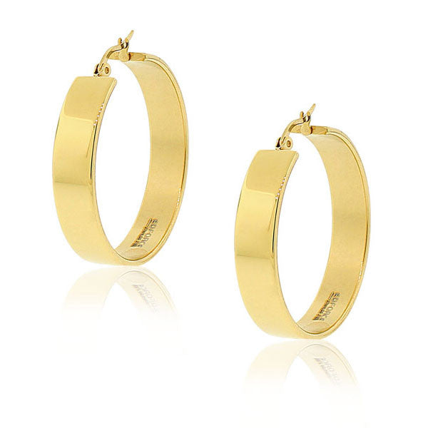 "EDFORCE Stainless Steel Yellow Gold-Tone Classic Polished Hoop Earrings 1.35"" Diameter"